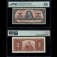 $2 1937 BC-22b Gordon-Towers Gordon-Towers Prefix J/B PMG AU-58