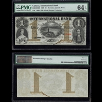 The International Bank of Canada $1 1858 Fitch PMG CUNC-64