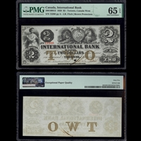 The International Bank of Canada $2 1858 Fitch PMG GUNC-65