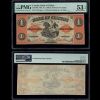 The Bank of Clifton $1 1861 Brown PMG AU-53