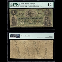 Le Banque Nationale $1 1860 Venzina-Various (Avril) PMG F-12