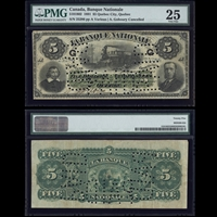 Le Banque Nationale $5 1891 Various-Goboury  PMG VF-25