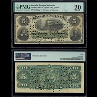 Le Banque Nationale $5 1891 Various-Goboury  PMG VF-20