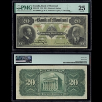 The Bank of Montreal $20 1914 Williams-Taylor-Meredith PMG VF-25
