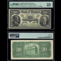 The Bank of Montreal $20 1923 Williams-Taylor-Meredith PMG VF-25