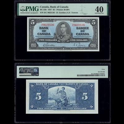 $5 1937 BC-23b Gordon-Towers Gordon-Towers Prefix S/C PMG EF-40
