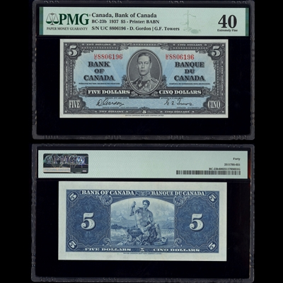 $5 1937 BC-23b Gordon-Towers Gordon-Towers Prefix U/C PMG EF-40