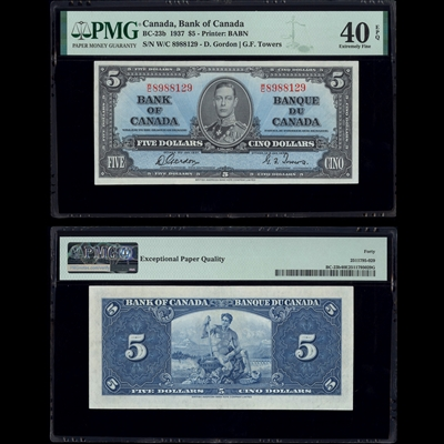 $5 1937 BC-23b Gordon-Towers Gordon-Towers Prefix W/C PMG EF-40