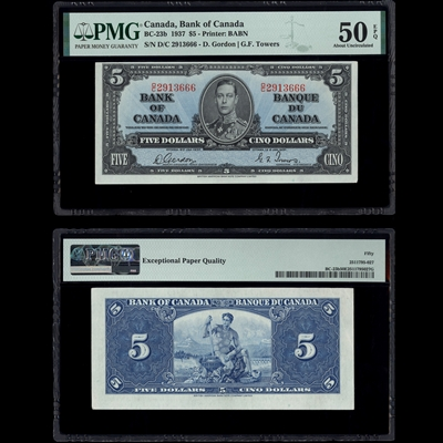 $5 1937 BC-23b Gordon-Towers Gordon-Towers Prefix D/C PMG AU-50