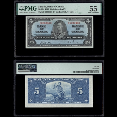 $5 1937 BC-23b Gordon-Towers Gordon-Towers Prefix E/C PMG AU-55