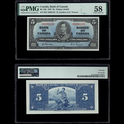 $5 1937 BC-23b Gordon-Towers Gordon-Towers Prefix M/C PMG AU-58