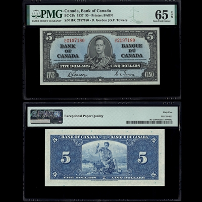 $5 1937 BC-23b Gordon-Towers Gordon-Towers Prefix H/C PMG GUNC-65