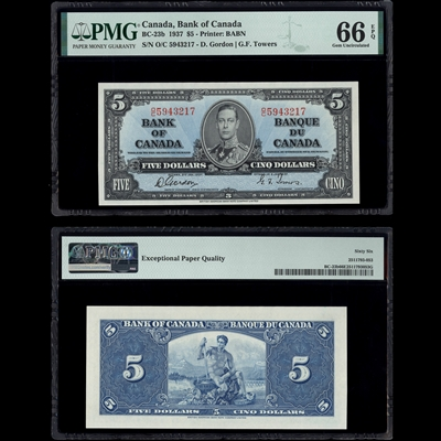 $5 1937 BC-23b Gordon-Towers Gordon-Towers Prefix O/C PMG GUNC-66