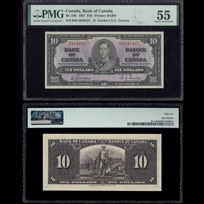 $10 1937 BC-24b Gordon-Towers Gordon-Towers Prefix B/D PMG AU-55