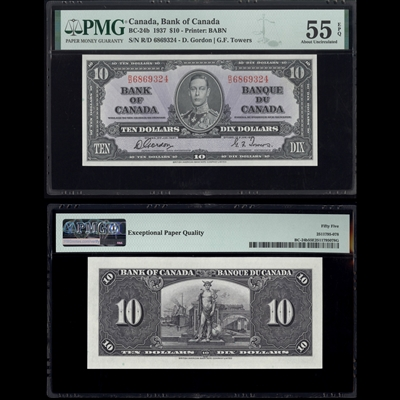 $10 1937 BC-24b Gordon-Towers Gordon-Towers Prefix R/D PMG AU-55