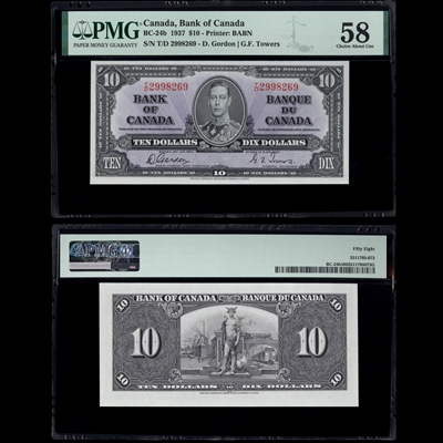 $10 1937 BC-24b Gordon-Towers Gordon-Towers Prefix T/D PMG AU-58