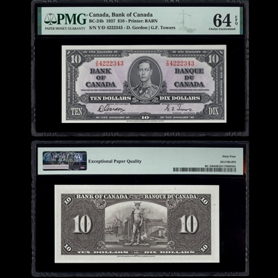 $10 1937 BC-24b Gordon-Towers Gordon-Towers Prefix Y/D PMG CUNC-64