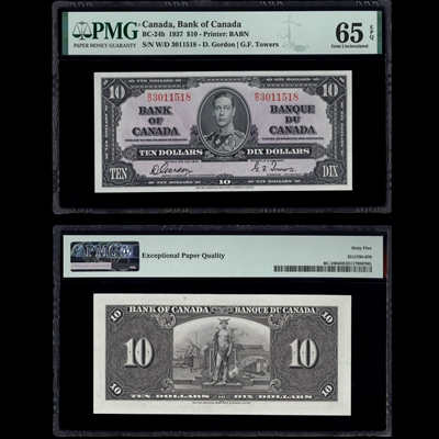 $10 1937 BC-24b Gordon-Towers Gordon-Towers Prefix W/D PMG GUNC-65