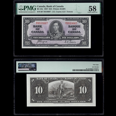 $10 1937 BC-24c Coyne-Towers Coyne-Towers Prefix B/T PMG AU-58