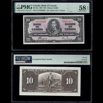 $10 1937 BC-24c Coyne-Towers Coyne-Towers Prefix C/T PMG AU-58