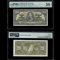 $20 1937 BC-25b Gordon-Towers Gordon-Towers Prefix D/E PMG AU-58