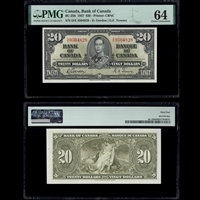 $20 1937 BC-25b Gordon-Towers Gordon-Towers Prefix D/E PMG CUNC-64