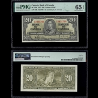 $20 1937 BC-25b Gordon-Towers Gordon-Towers Prefix D/E PMG GUNC-65
