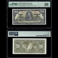 $20 1937 BC-25c Coyne-Towers Coyne-Towers Prefix K/E PMG AU-50