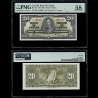 $20 1937 BC-25c Coyne-Towers Coyne-Towers Prefix J/E PMG AU-58