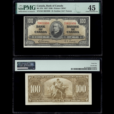 $100 1937 BC-27b Gordon-Towers Gordon-Towers Prefix B/J PMG EF-45