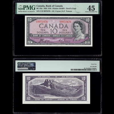 $10 1954 BC-32a Coyne-Towers Coyne-Towers Prefix C/D PMG EF-45