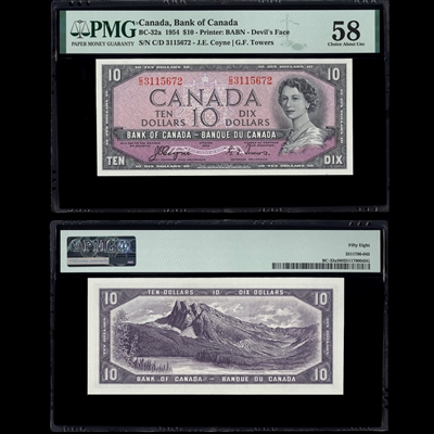 $10 1954 BC-32a Coyne-Towers Coyne-Towers Prefix C/D PMG AU-58