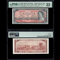 $2 1954 English Replacement BC-38bA RB4 Beattie-Rasminsky Beattie-Rasminsky Prefix *R/R PMG VF-25