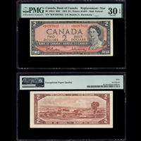 $2 1954 English Replacement BC-38bA RB4 Beattie-Rasminsky Beattie-Rasminsky Prefix *R/R PMG VF-30