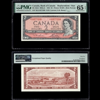 $2 1954 English Replacement BC-38dA RB6a-b Lawson-Bouey Lawson-Bouey Prefix *K/G PMG GUNC-65