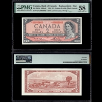 $2 1954 English Replacement BC-38dA RB6a-b Lawson-Bouey Lawson-Bouey Prefix *O/G PMG AU-58