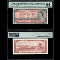$2 1954 English Replacement BC-38dA RB6a-b Lawson-Bouey Lawson-Bouey Prefix *O/G PMG CUNC-64
