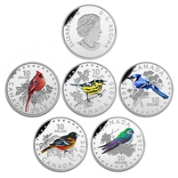 2015 $10 Colourful Songbirds of Canada - 5 Coin + Display Case Pure Silver Set