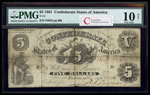 US $5 Coin Note 1861 Richmond, Virginia PMG VG-10