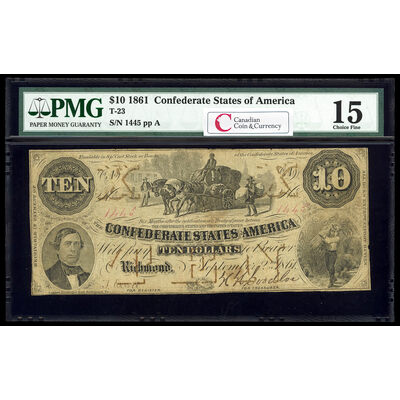 US $10 Coin Note 1861 Richmond, Virginia PMG F-15