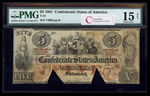 US $5 Coin Note 1861 Richmond, Virginia PMG F-15