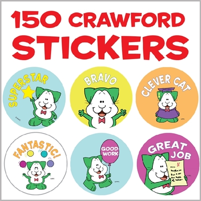 Crawford the Cat Incentive Stickers - 150 stickers (15 designs)