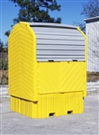 Ultra-Hard Top Spill Pallet IBC Hard Top - with drain