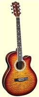 Indiana Madison Deluxe Quilt Acoustic Electric Guitar (Multi-Colors)