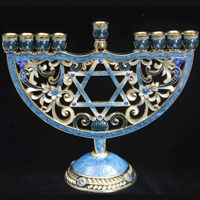 1011- Menorah - Jeweled, star, 6.5""