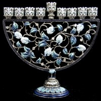1014- Menorah, jeweled, blues, 7""