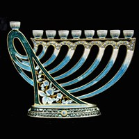 1024- Menorah, jeweled, harp, 6""