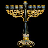 1030- Menorah, jeweled, blues, 7""