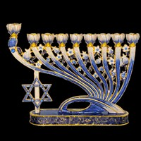 1031- Menorah, jeweled, blues, 7""