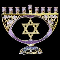 1045- Menorah, jeweled, 8""